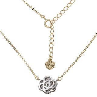 14k White and Yellow Gold 16-18-inch Adjustable Rose Necklace