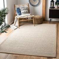 Safavieh Casual Natural Fiber Marble/ Ivory Linen Sisal Area Rug - 8' x 8' Square