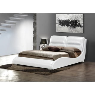 Romney Upholstered King Bed, White PU
