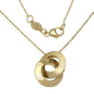 I Love You' 14k Italian Yellow Gold Adjustable 16, 18, and 20-inch Intertwined Circles Fancy Necklace