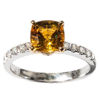 18k White Gold Canary Yellow Sapphire and 1/2ct TDW Diamond Ring
