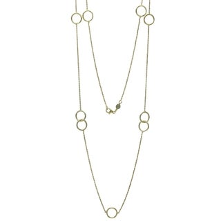 Women's 14k Italian Yellow Gold 36-inch Fancy Intertwined Circles Necklace