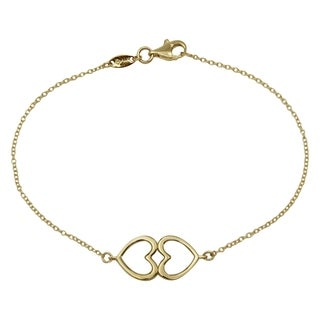 14k Yellow Gold 7.5-inch Double Heart Design Bracelet