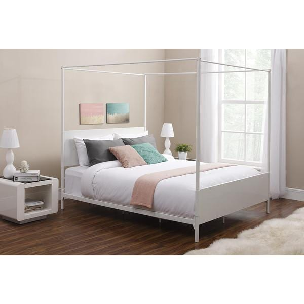 Shop Dhp Canopy Queen White Metal Bed Free Shipping