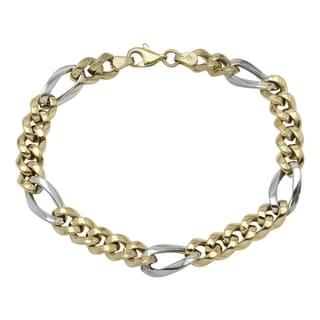 Men's 14k White/Yellow Gold 8.25-inch Fancy Link Bracelet