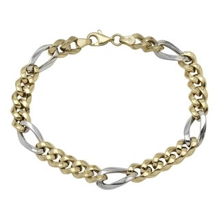 Men's 14k White/Yellow Gold 8.25-inch Fancy Link Bracelet