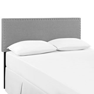 Modway Phoebe Light Grey Wood and Upholstered Fabric Headboard
