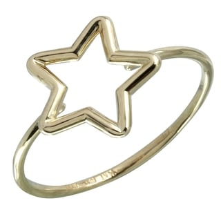 14k Italian Gold Hollow Star Ring
