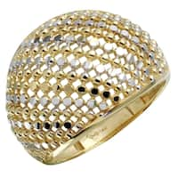 14k Yellow Gold Diamond-cut Dome Ring