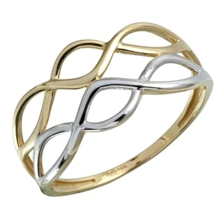 14k White and Yellow Gold Size 7 Open Work Ring