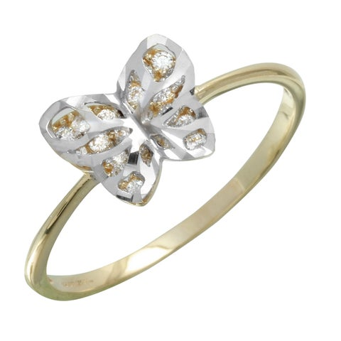 14k Gold Diamond-cut Cubic Zirconia Two-tone Butterfly Ring