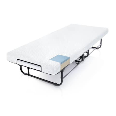 Rollaway Folding Bed with Premium Gel Memory Foam Mattress - Twin Size by STRUCTURES