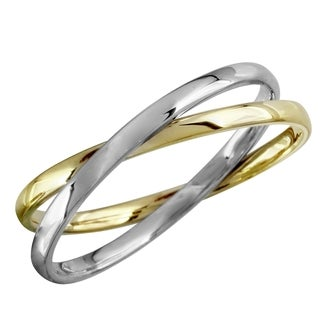 Women's 14k Yellow and White Gold Intertwined Double Ring