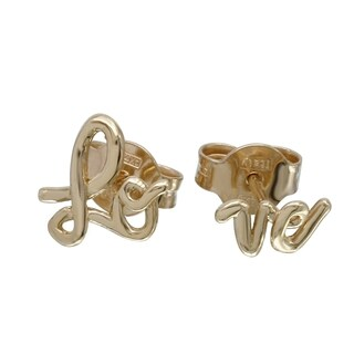 Italian 14k Gold 'Love' Earrings