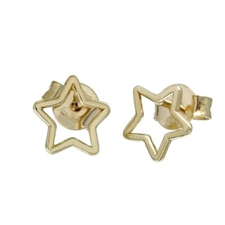 14k Italian Gold Hollow Star Earrings