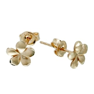 Women's 14k Gold Satin Flower Earrings