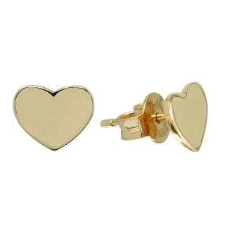 14k Italian Gold Heart Earrings