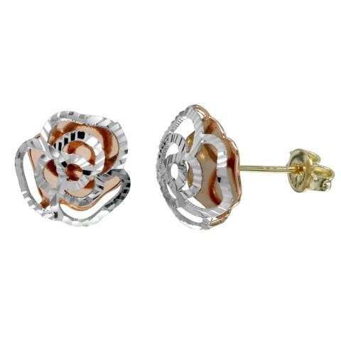 14k Tri-Color Gold Diamond-Cut Rose Stud Earrings