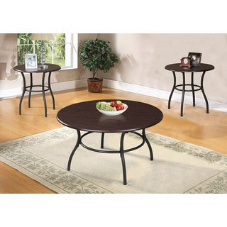 Urika 3-Piece Coffee And End Table Set, Dark Cherry & Espresso