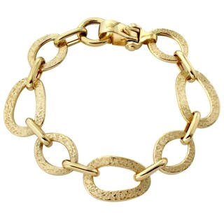 14k Yellow Gold 7.5-inch Italian Hammered Bracelet