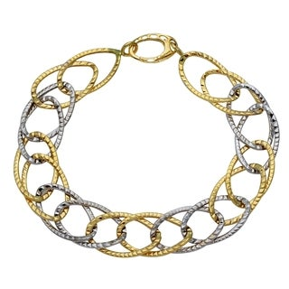 14k Yellow and White Gold D-Cut Oval Link Bracelet, 7.75 inches