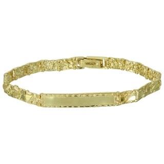 Men's 14k Yellow Gold Nugget Identification Bracelet