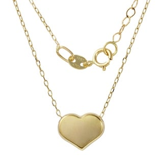 14k Italian Yellow Gold Adjustable Heart Pendant Rolo Chain Necklace