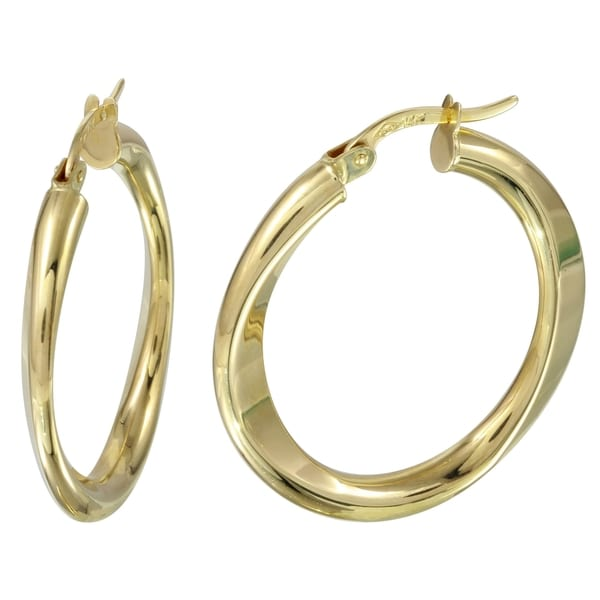 14k Yellow Gold Flat Hoop Earrings Free Shipping Today 12656478