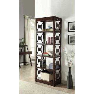 Contemporary Espresso finish Madge Five-Shelf Bookcase