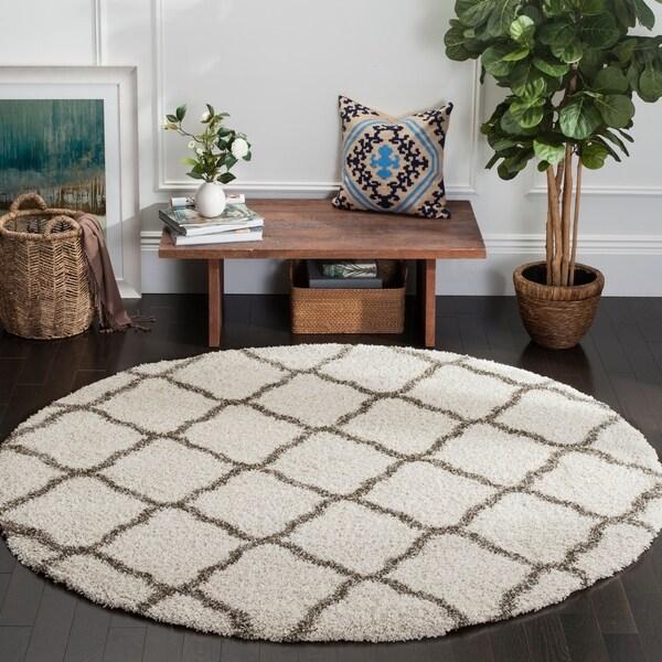 Shop Safavieh Hudson Shag Moroccan Trellis Ivory/ Grey Rug