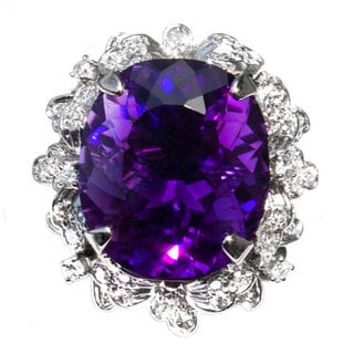 18k White Gold Uruguyan Amethyst and 1 1/4ct TDW Diamond Ring (Size 7.5)