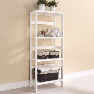 Meera Solid Pine Shelf Rack, White