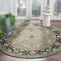 Safavieh Hand-hooked Total Performance Green / Black Acrylic Rug - 8' X 8' Round