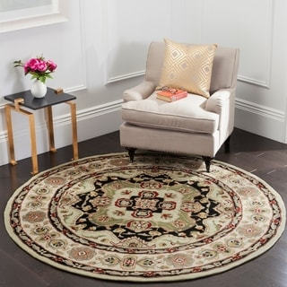 Safavieh Hand-hooked Total Performance Soft Green / Ivory Acrylic Rug (6' Round)