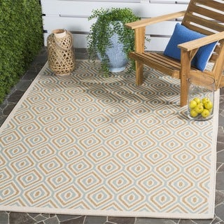 Safavieh Indoor / Outdoor Veranda Cream / Aqua Rug (6'7 Square)