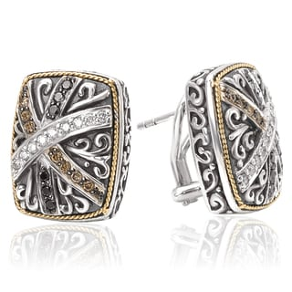 Avanti Sterling Silver and 18K Yellow Gold 3/4 Ct TDW White Black and Brown Diamond Cushion Shape Omega Earrings