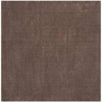 Safavieh Velvet Shag Dark Beige Polyester Rug - 6' 7 Square