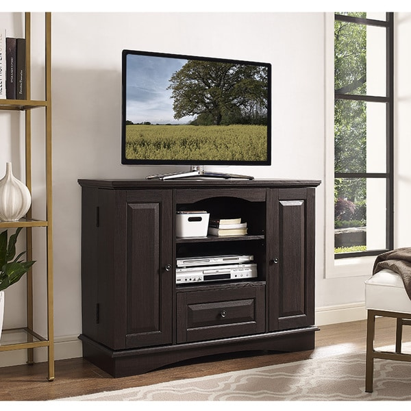 shop brown wood 42 inch tall tv stand with storage free shipping today 12656612. Black Bedroom Furniture Sets. Home Design Ideas