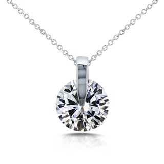 Annello 14k White Gold Round Moissanite Wheel Pendant and Chain