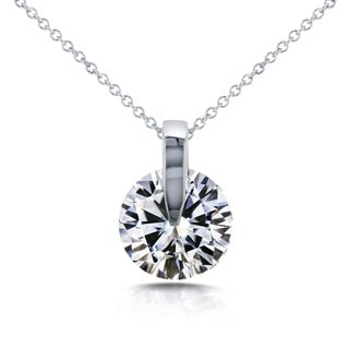 Annello by Kobelli 14k White Gold 1 7/8 Carat Round Moissanite (HI) Solitaire Wheel Pendant and Chain