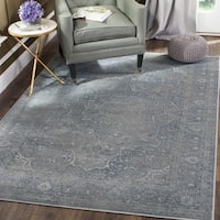 Safavieh Vintage Oriental Light Blue/ Light Grey Distressed Silky Viscose Rug - 6' x 6' Square