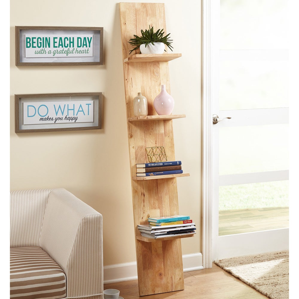 Simple Living Beanstalk Natural Rubberwood Ladder Shelf (...
