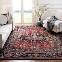 "Safavieh Vintage Hamadan Traditional Red/ Multi Distressed Area Rug - 6'7"" x 6'7"" square"