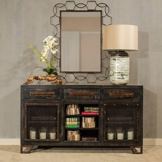 Hillsdale Furniture Bridgewater Sofa Table with Mesh Wire Doors and Wine Rack