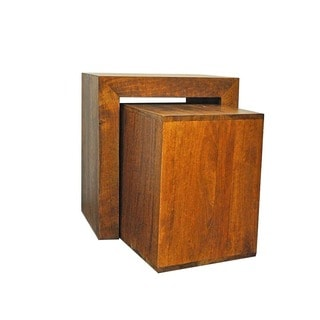 Y Decor Brown Solid Mango Wood Side Table Cubes