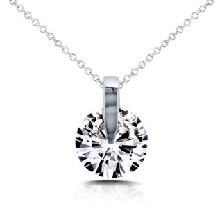 Annello 14k White Gold Forever Brilliant Moissanite Wheel Pendant and Chain