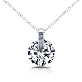 Annello 14k White Gold Forever One Moissanite Wheel Pendant and Chain
