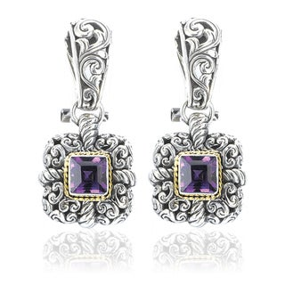 Avanti Sterling Silver and 18K Yellow Gold Amethyst Square Dangle Earrings