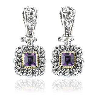 Avanti Sterling Silver and 18K Yellow Gold Amethyst Square Dangle Earrings|https://ak1.ostkcdn.com/images/products/12656673/P19445040.jpg?impolicy=medium