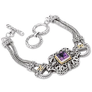 Avanti Sterling Silver And 18K Yellow Gold Amethyst Ornate Toggle Bracelet